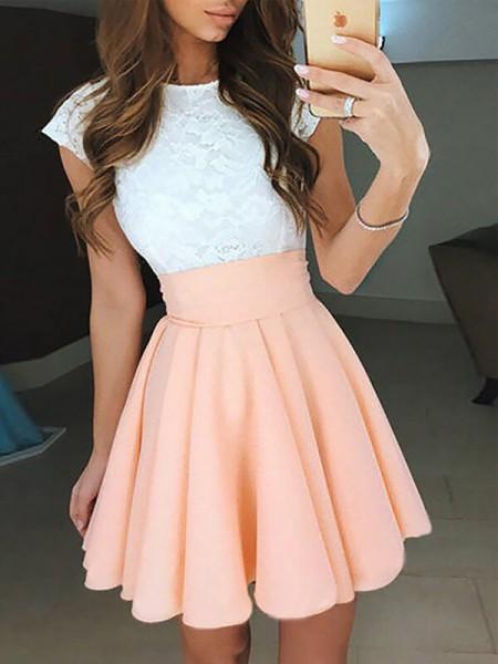A-line/Princess Short/Mini Chiffon Sleeveless Jewel Lace Dresses