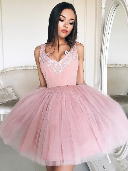 A-line/Princess Short/Mini Tulle Sleeveless V-neck Dresses