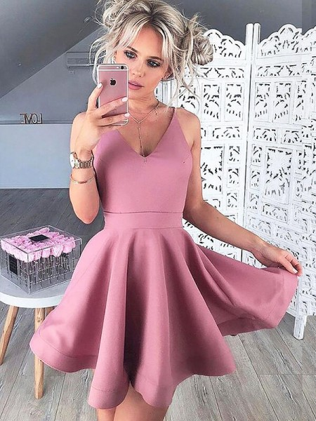 A-line/Princess Satin Sleeveless Short/Mini V-neck Dresses