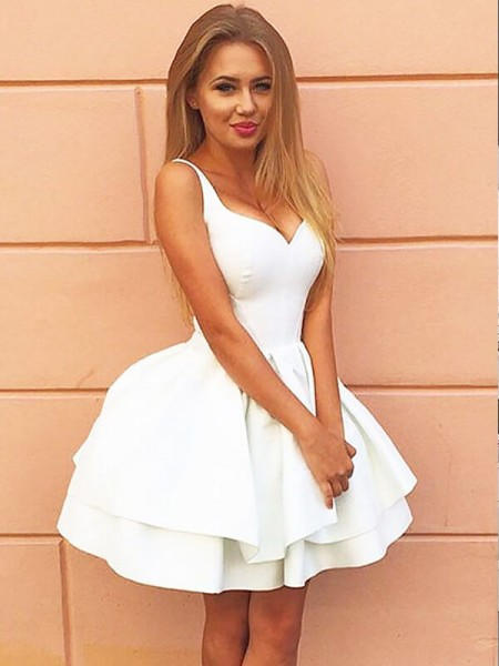 A-line/Princess Short/Mini Satin Sleeveless Sweetheart Dresses