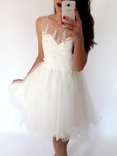 A-line/Princess Short/Mini Tulle Sleeveless Scoop Dresses
