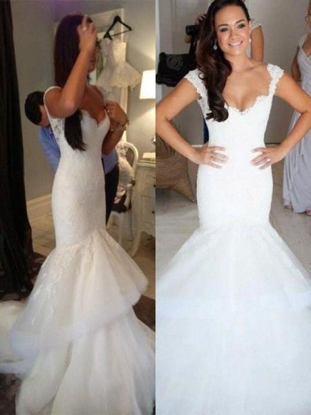 Trumpet/Mermaid Chapel Train Organza Sleeveless Straps Wedding Dresses