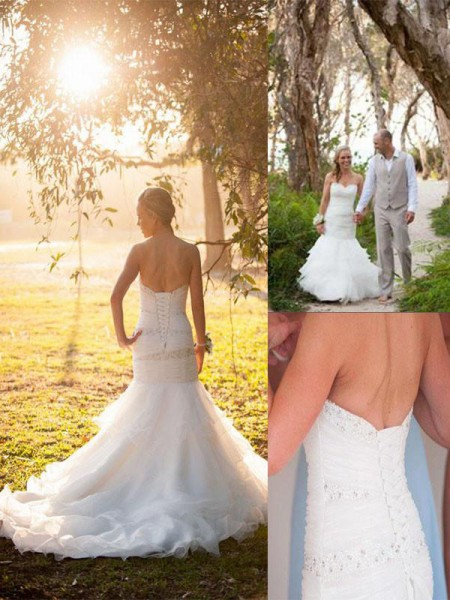Trumpet/Mermaid Court Train Tulle Sleeveless Sweetheart Wedding Dresses