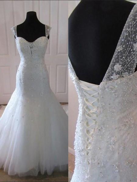 Trumpet/Mermaid Court Train Tulle Sleeveless Straps Wedding Dresses