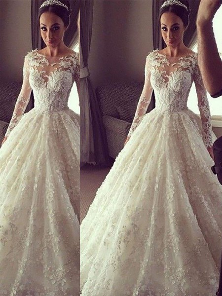 Ball Gown Court Train Lace Long Sleeves Scoop Wedding Dresses