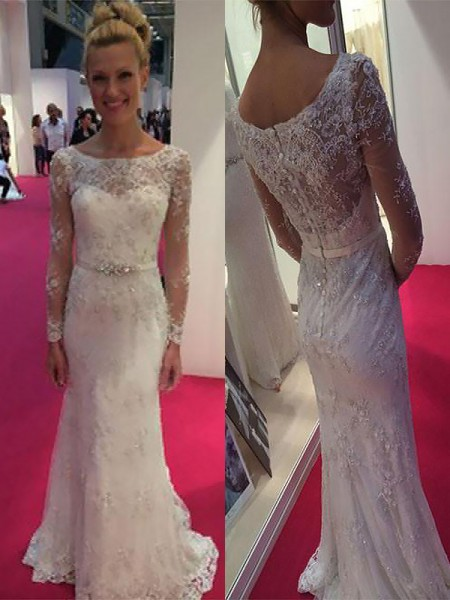 Sheath/Column Sweep/Brush Train Chiffon Long Sleeves Scoop Lace Wedding Dresses