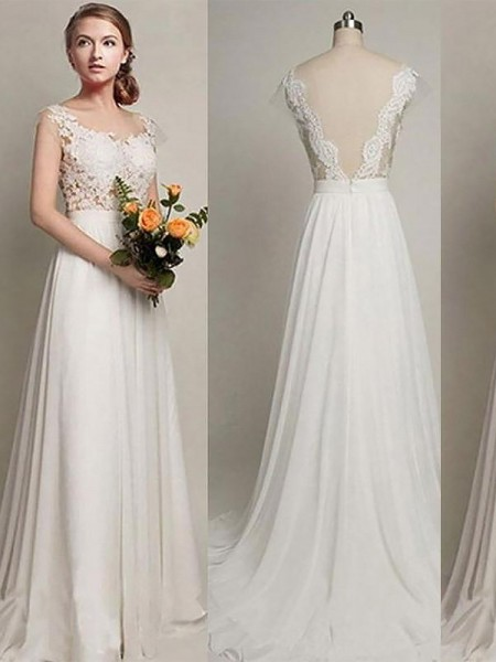 A-Line/Princess Sweep/Brush Train Chiffon Sleeveless Scoop Wedding Dresses