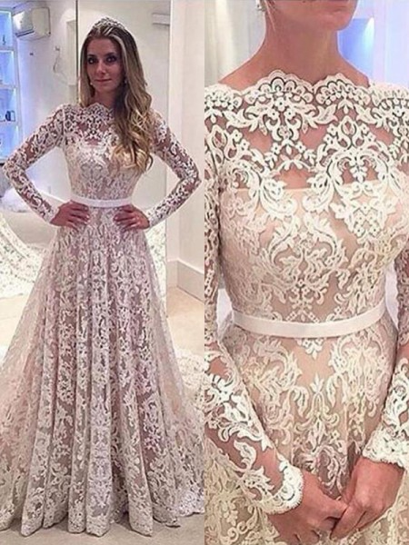A-Line/Princess Court Train Lace Long Sleeves Bateau Wedding Dresses