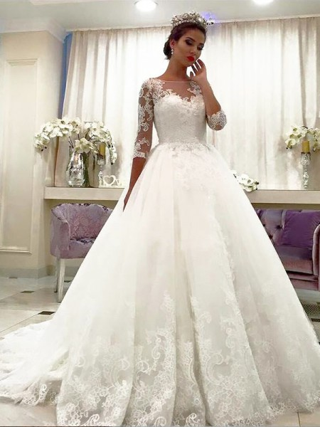 Ball Gown Court Train Tulle 3/4 Sleeves Bateau Wedding Dresses