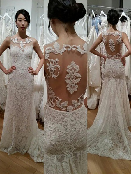 Trumpet/Mermaid Sweep/Brush Train Lace Sleeveless Scoop Wedding Dresses