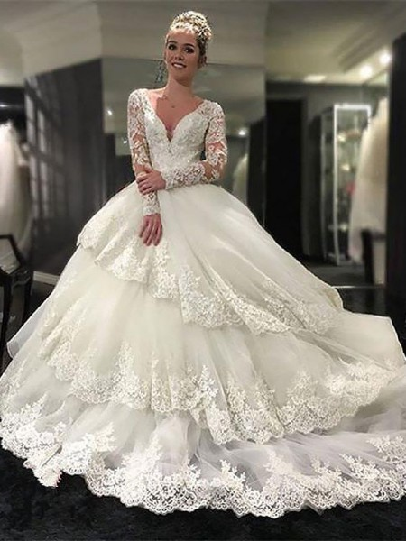 Ball Gown Court Train Tulle Long Sleeves V-neck Wedding Dresses