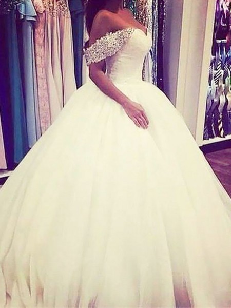 Ball Gown Sweep/Brush Train Tulle Sleeveless Off-the-Shoulder Beading Wedding Dresses