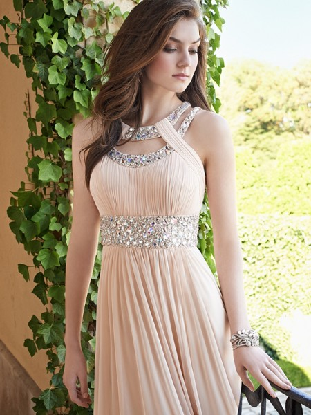 A-Line/Princess Floor-Length Chiffon Sleeveless Bateau Beading Dresses