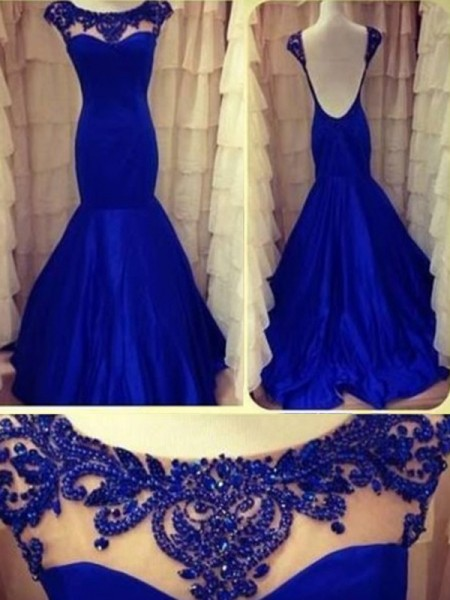 Trumpet/Mermaid Floor-Length Taffeta Sleeveless Scoop Beading Dresses