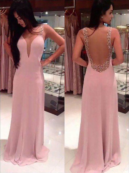 A-Line/Princess Floor-Length Chiffon Sleeveless Straps Beading Dresses