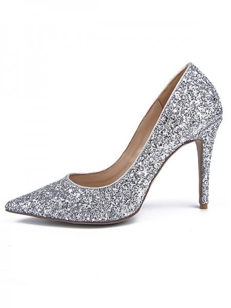 Women's Sparkling Glitter Closed Toe Stiletto Heel High Heels