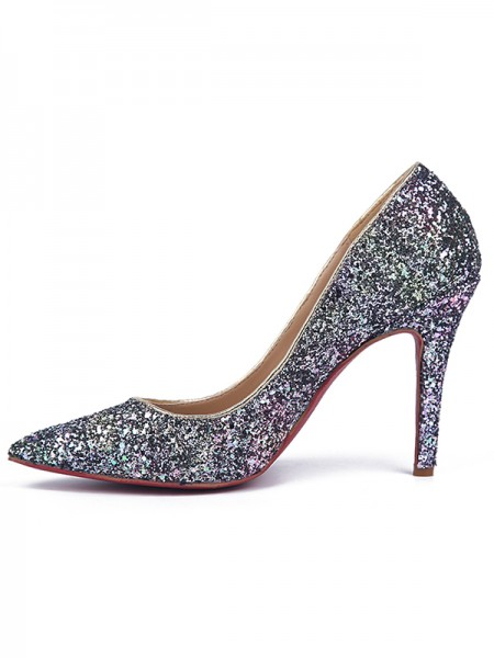 Women's Stiletto Heel Sparkling Glitter Closed Toe High Heels