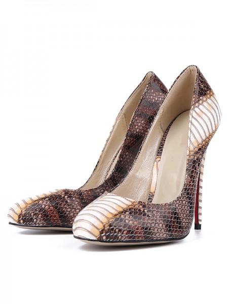 Women's Snake Print PU Closed Toe Stiletto Heel High Heels