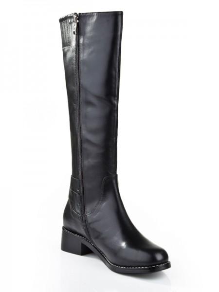 Women's Kitten Heel Closed Toe Cattlehide Leather With Zipper Mid-Calf Black Boots