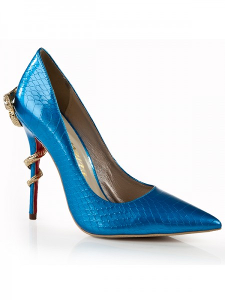 Women's Stiletto Heel Royal Blue Closed Toe With Rhinestone High Heels
