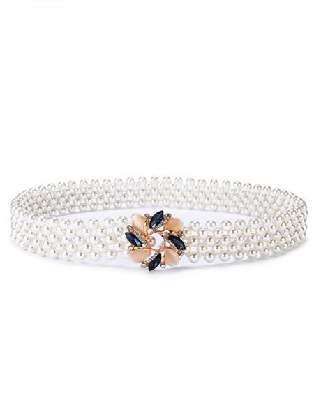 Fashion Elastic Imitation Pearls Sashes With Rhinestones