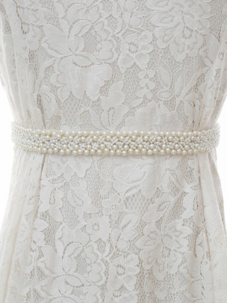 Bride Gown Satin Sash Belt With Imitation Pearls
