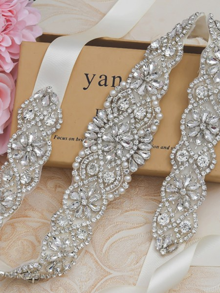 Women's Stylish Satin Sashes With Rhinestones/Imitation Pearls