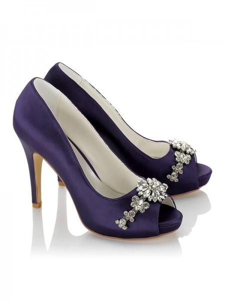 Women's PU Peep Toe Stiletto Heel Wedding Shoes