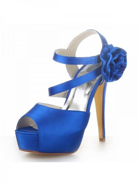 Women's Satin Peep Toe Platform Stiletto Heel With Flower Sandals Shoes