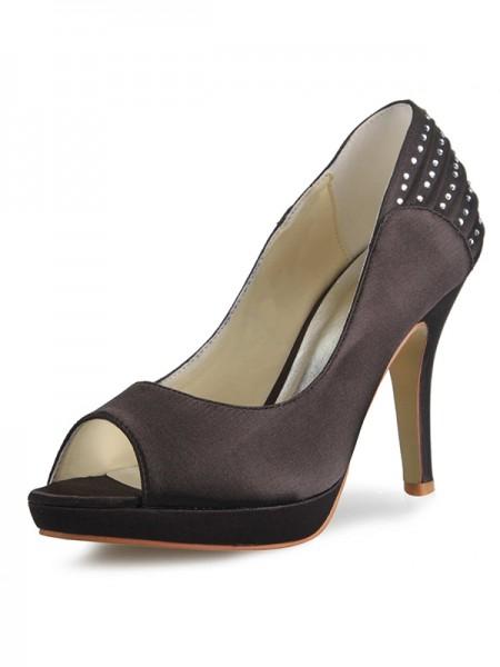 Women's Satin Cone Heel Platform Peep Toe With Rhinestone Platforms Shoes