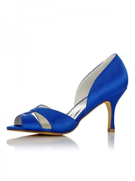 Women's Satin PU Peep Toe Stiletto Heel Wedding Shoes