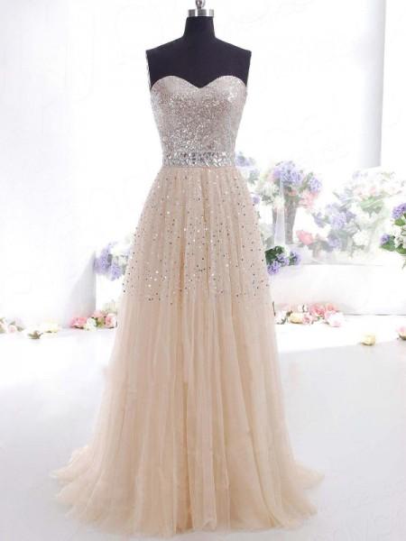 A-Line/Princess Sleeveless Tulle Sweep/Brush Train Sweetheart Dresses