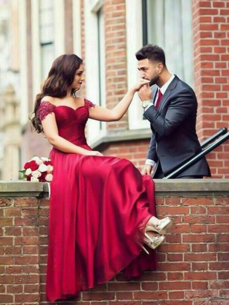 A-Line/Princess Sweetheart Sleeveless Floor-Length Beading Elastic Woven Satin Prom Dresses