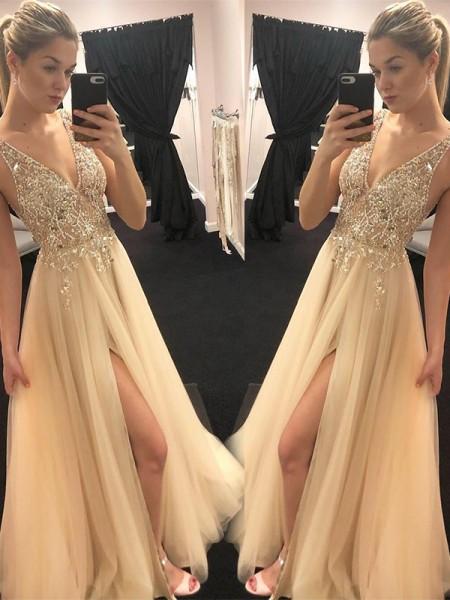 A-Line/Princess V-neck Sleeveless Floor-Length Beading Tulle Prom Dresses