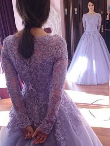 Ball Gown Jewel Long Sleeves Floor-Length Lace Tulle Prom Dresses