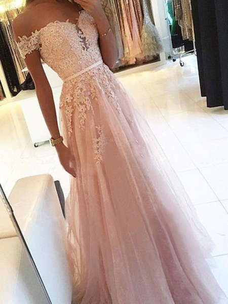 A-Line/Princess Off-the-Shoulder Sleeveless Floor-Length Applique Tulle Prom Dresses