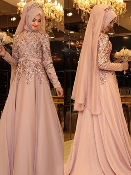 A-Line/Princess High Neck Long Sleeves Floor-Length Beading Chiffon Prom Dresses