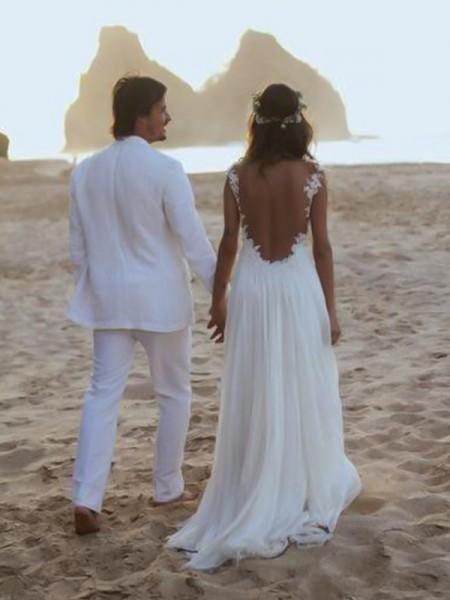 A-Line/Princess Spaghetti Straps Sleeveless Sweep/Brush Train Lace Chiffon Wedding Dresses