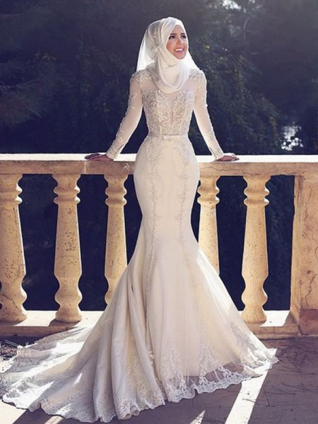 Trumpet/Mermaid Jewel Long Sleeves Sweep/Brush Train Lace Tulle Muslim Wedding Dresses