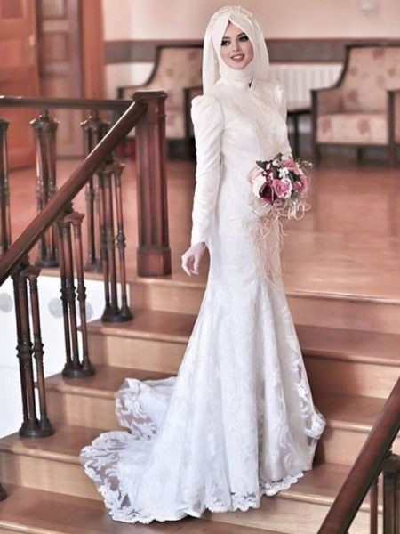 Trumpet/Mermaid High Neck Long Sleeves Sweep/Brush Train Lace Tulle Muslim Wedding Dresses