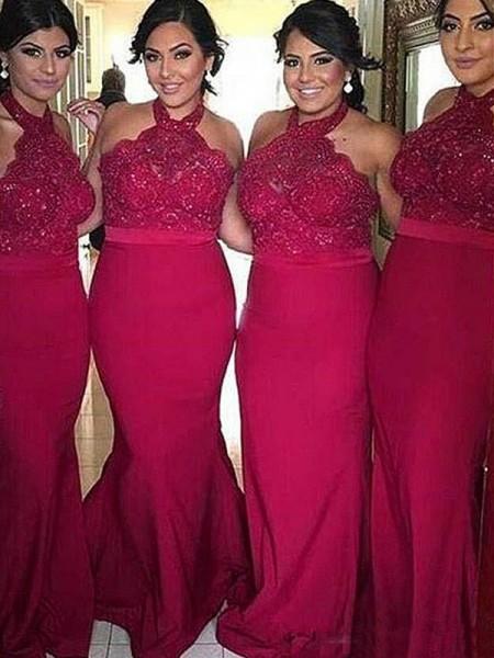 Sheath/Column Halter Sleeveless Sweep/Brush Train Lace Satin Bridesmaid Dresses