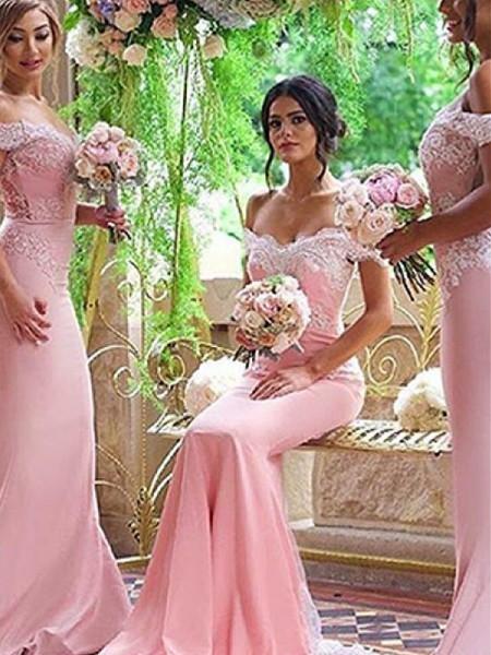 Sheath/Column Off-the-Shoulder Sleeveless Sweep/Brush Train Lace Satin Bridesmaid Dresses