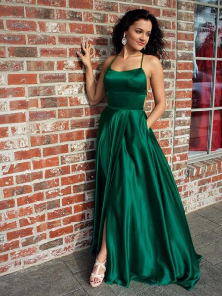 A-Line/Princess Straps Sleeveless Sweep/Brush Train Ruffles Silk like Satin Prom Dresses