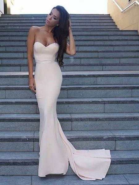 Sheath/Column Sweetheart Sleeveless Sweep/Brush Train Ruffles Satin Prom Dresses