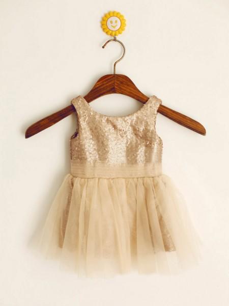 A-Line/Princess Sleeveless Sequins Floor-Length Sequin Scoop Flower Girl Dresses