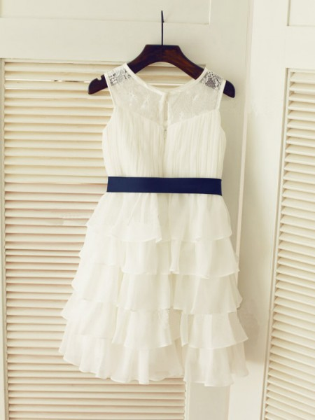 A-Line/Princess Sleeveless Chiffon Tea-Length Ruched Scoop Flower Girl Dresses