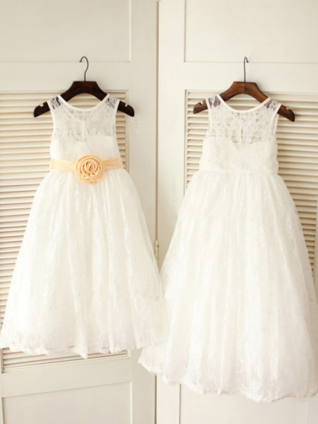 A-Line/Princess Sleeveless Lace Ankle-Length Sash/Ribbon/Belt Scoop Flower Girl Dresses