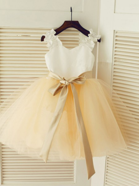 Ball Gown Sleeveless Tulle Tea-Length Sash/Ribbon/Belt Straps Flower Girl Dresses