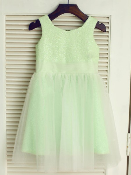A-Line/Princess Sleeveless Tulle Tea-Length Scoop Flower Girl Dresses