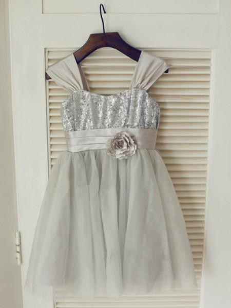 A-Line/Princess Sleeveless Tulle Tea-Length Bowknot Straps Flower Girl Dresses